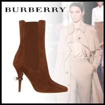 Burberry D ring Casual Style Sheepskin Suede Plain Pin Heels Elegant Style