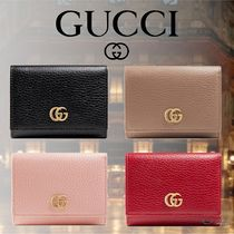 GUCCI GG Marmont Unisex Plain Leather Folding Wallet Logo Folding Wallets