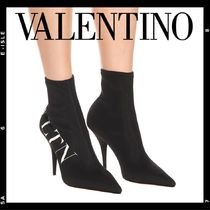 VALENTINO VLTN Plain Pin Heels Elegant Style Ankle & Booties Boots