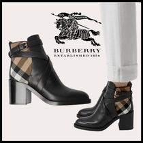 Burberry Tartan Other Check Patterns Casual Style Block Heels