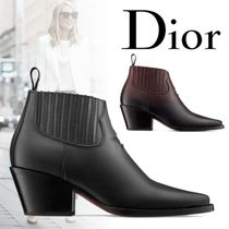Christian Dior Casual Style Plain Leather Block Heels Ankle & Booties Boots