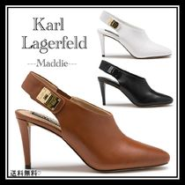 Karl Lagerfeld Plain Leather Pointed Toe Pumps & Mules