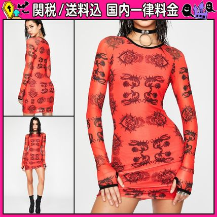 Crew Neck Short Casual Style Tight Long Sleeves Dresses