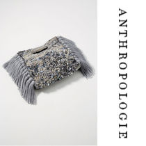 Anthropologie Casual Style Blended Fabrics Party Style Fringes Clutches