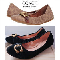 Coach STANTON Round Toe Rubber Sole Casual Style Velvet Plain Leather Logo