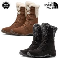 THE NORTH FACE Nuptse Round Toe Rubber Sole Lace-up Casual Style Suede Faux Fur