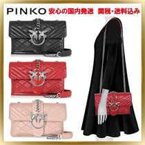 PINKO Chain Leather Elegant Style Shoulder Bags
