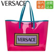 VERSACE Casual Style Blended Fabrics Street Style A4 2WAY Plain