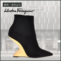 Salvatore Ferragamo Suede Plain Leather Party Style Elegant Style Chunky Heels