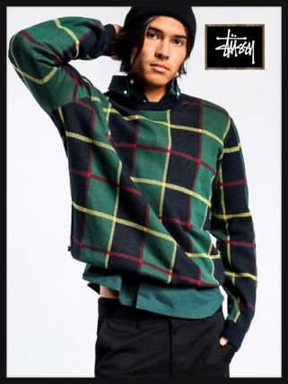 STUSSY Knits & Sweaters Crew Neck Street Style Long Sleeves Cotton Knits & Sweaters