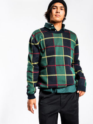 STUSSY Knits & Sweaters Crew Neck Street Style Long Sleeves Cotton Knits & Sweaters 4