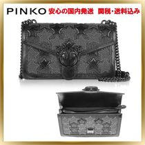 PINKO Star Studded Chain Plain Leather Elegant Style Shoulder Bags