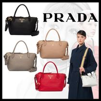 PRADA Calfskin Plain Leather Office Style Elegant Style Handbags
