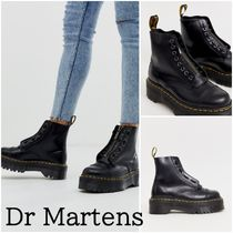 Dr Martens Platform Round Toe Lace-up Casual Style Street Style Leather