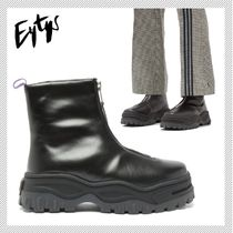 Eytys Rubber Sole Unisex Plain Leather Ankle & Booties Boots