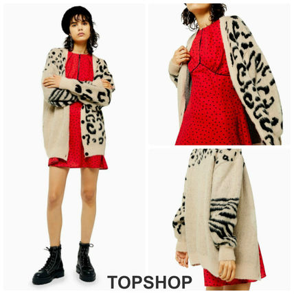 Casual Style Long Sleeves Other Animal Patterns Cardigans
