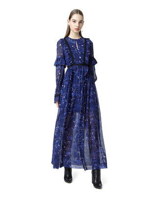 Star Flared Long Sleeves Long Elegant Style Dresses