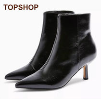 TOPSHOP Casual Style Faux Fur Plain Pin Heels Mid Heel Boots