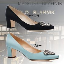 Manolo Blahnik Round Toe Plain Block Heels Party Style With Jewels