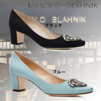 Formal Style  Round Toe Plain Block Heels Party Style