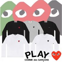COMME des GARCONS Crew Neck Heart Unisex Long Sleeves Cotton