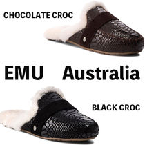 EMU Australia Rubber Sole Sheepskin Fur Sabo Elegant Style Slip-On Shoes