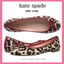 kate spade new york Leopard Patterns Street Style Leather Ballet Shoes
