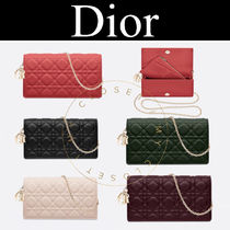 Christian Dior LADY DIOR Other Check Patterns Lambskin Street Style 2WAY Chain