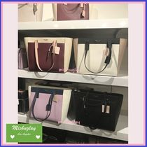 kate spade new york CAMERON STREET A4 Bi-color Plain Leather Office Style Elegant Style Totes
