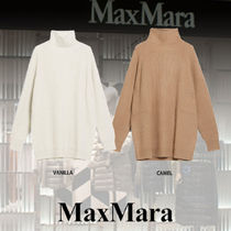 MaxMara Casual Style Wool Cashmere Rib Blended Fabrics Long Sleeves