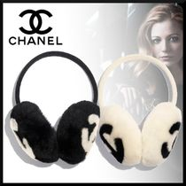 CHANEL Cashmere Blended Fabrics Street Style Plain Accessories