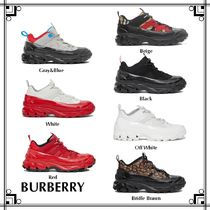 Burberry Other Check Patterns Monogram Unisex Suede Sneakers