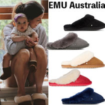 EMU Australia Casual Style Sheepskin Plain Slippers Shoes