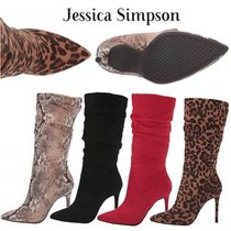 Jessica Simpson Leopard Patterns Casual Style Suede Plain Pin Heels Python