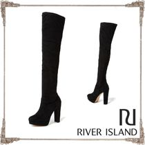 River Island Blended Fabrics Block Heels Over-the-Knee Boots