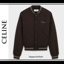 CELINE Wool Blended Fabrics Plain Medium Varsity Jackets