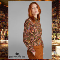 ETRO Flower Patterns Paisley Long Sleeves Cotton Shirts & Blouses