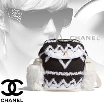CHANEL Blended Fabrics A4 Bi-color Chain Elegant Style Shearling
