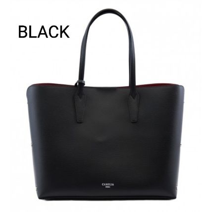 Bag in Bag Plain Leather Office Style Logo Totes