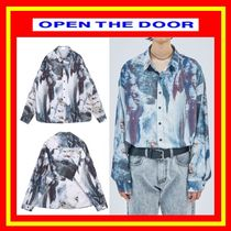 OPEN THE DOOR Unisex Street Style Long Sleeves Oversized Shirts & Blouses