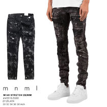 MNML Tapered Pants Printed Pants Unisex Denim Street Style Plain