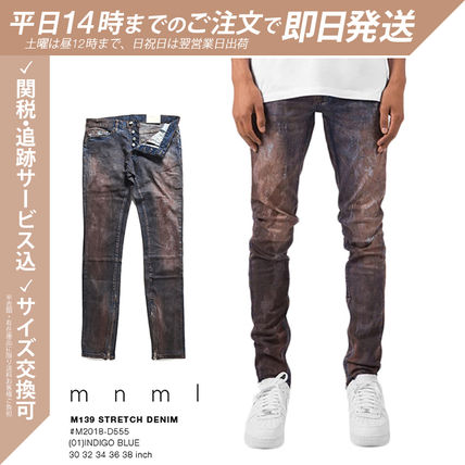 MNML More Jeans Tapered Pants Printed Pants Unisex Denim Street Style