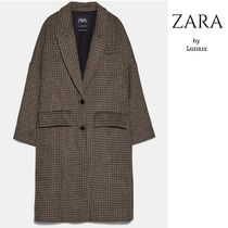 ZARA Other Check Patterns Casual Style Wool Long Oversized
