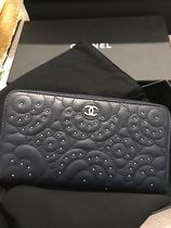 CHANEL MATELASSE Lambskin Studded Leather Long Wallets