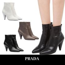 PRADA Plain Leather Elegant Style Ankle & Booties Boots