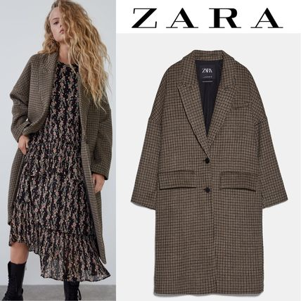 ZARA Glen Patterns Long Oversized Coats
