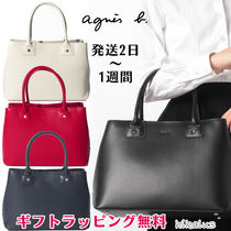 Agnes b A4 Plain Leather Office Style Elegant Style Totes