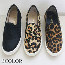 Leopard Patterns Round Toe Casual Style Spawn Skin