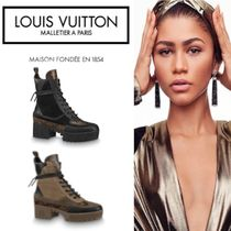 Louis Vuitton Monogram Platform Round Toe Casual Style Leather Block Heels