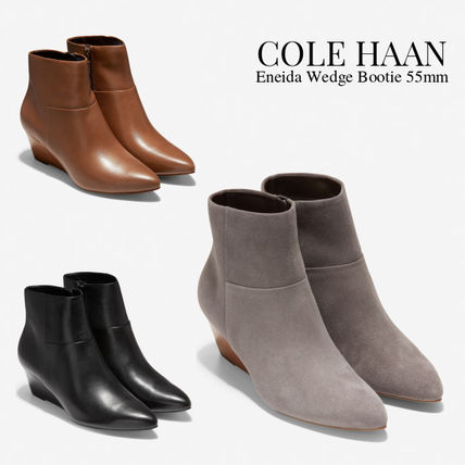 Cole Haan Casual Style Suede Plain Leather Wedge Boots